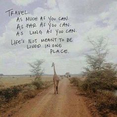 """Travel as much as you can, as far as you can, as long as you can. Life's not meant to be lived in one place."""