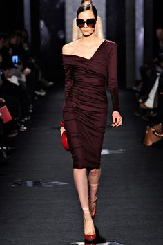 DVF Fall 2012.  Again, love the deep asymmetrical V.  Gorgeous, and I think mirroring it with the hair is key to the look.