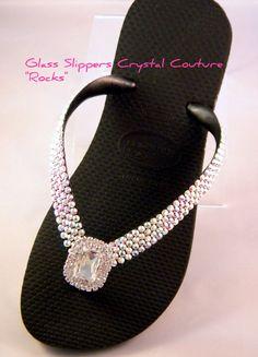 "Glass Slippers ""Rocks"" Silver Octagon Swarovski Crystal Havaianas Cariris Womens Beach Wedding Flip Flops Thong Shoes"