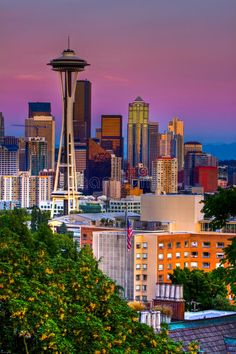 Photo about Downtown Seattle at sunset on a summer night. Image of seattle, space, needle - 13194121 Downtown Seattle, Seattle Skyline, Seattle Photography, Travel Brochure Template, Famous Landmarks, City Landscape, Greys Anatomy, Summer Nights, Washington State