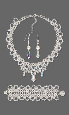 Collar-Style Necklace Bracelet and Earring Set with Swarovski Crystal and Seed Beads