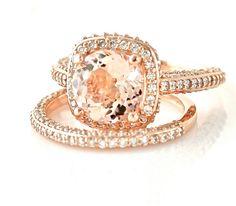 14K Rose Gold Morganite Wedding Set Diamond Halo by RareEarth, $2627.00