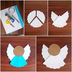 Proste ozdoby świąteczne choinkowe - aniołek z papieru