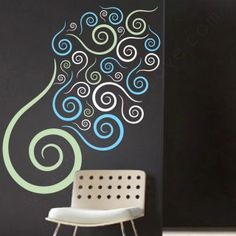 Fuego Swirls Wall Decals in celery, white, and carolina  For the Dorm