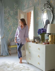 """Aerin Lauder in the dressing room of her New York City apartment. Gracie wallpaper. Photo: Simon Upton. Text: MacKenzie Schmidt. """"Aerin Lauder's Book, Beauty at Home, Showcases Her Passion For Interior Design,"""" Daily AD (October 25, 2013)."""