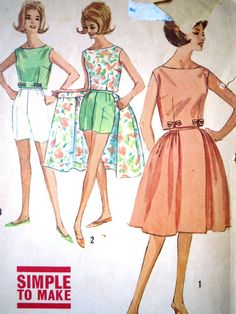 22d31cc08d8 Cute and simple to make early 1960s Vintage Simplicity sewing pattern  Bermuda shorts