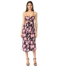 Flynn Skye Faith Midi Dress ($180) ❤ liked on Polyvore featuring dresses, black blossoms, floral midi dress, floral day dress, flower print dress, floral dresses and flynn skye dress