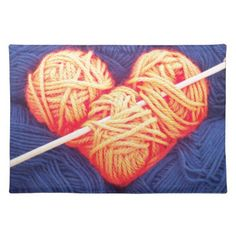 Cute wool heart with knitting needle photograph cloth placemat - vintage heart gifts love hearts custom