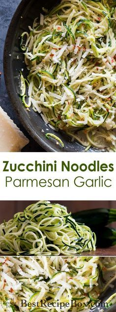 Zucchini noodle recipe with garlic butter parmesan cheese. This healthy keto zucchini noodles recipe is quick and easy with no pasta. Zucchini Noodles Recipe Garlic, Zucchini Noodle Recipes, Zoodle Recipes, Spiralizer Recipes, Garlic Recipes, Vegetable Recipes, Vegetarian Recipes, Cooking Recipes, Healthy Recipes