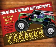 Monster Truck Printable Birthday Invitation GRAVE DIGGER Monster