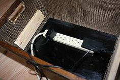 basket for shelf altered for electronics/charging station