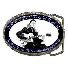 Eddie Cochran - Rock n Roll - Chrome/Enamel Belt Buckle from www.RetroHound.co.uk  Cool little collectible for lovers of rock n' roll legend Eddie Cochran