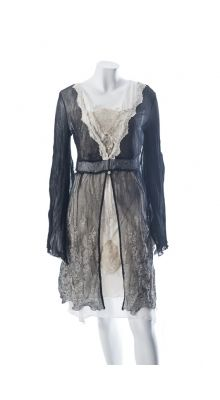 Elisa Cavaletti Black and Cream Lace Sheer Jacket With Metallic Embroidery. How lovely.