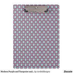 Modern Purple and Turquoise and White Ikat Pattern Clipboards