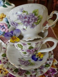 Violets May Day Beltane Flowers Teacups & Saucers