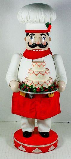 "Christmas Holiday Nutcracker Village Cake Baker Chef Culinary 14"" Tall Retro 04 #NutcrackerVillage"