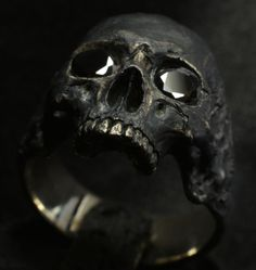 Skull Ring (men's, mid-size half-jaw skull ring with black stones in silver 925) ebay  #IntoTheFireJewelry #SkullRingBiker