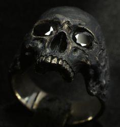 Skull Ring (men's, mid-size half-jaw skull ring with black stones in silver 925) ebay  #IntoTheFireJewelry #SkullRingBiker