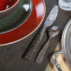 Alessi Dressed flatware, Chilewich Metallic Fringe tablemat