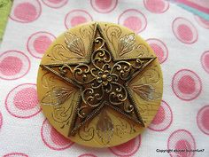 934 – Large Gorgeous 5-Point Brass Filigree Star on Celluloid Chased Wafer