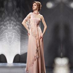 One shoulder sequin floor length dress