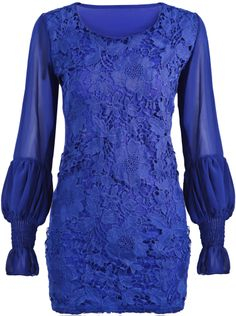 Blue Contrast Chiffon Long Sleeve Lace Dress - Sheinside.com
