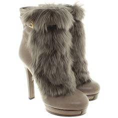 Pre-owned Ankle boots with fur trim ($565) ❤ liked on Polyvore featuring shoes, boots, ankle booties, grey, grey ankle booties, gray boots, block heel bootie, platform bootie and grey booties