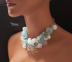 """My new necklace """"Snowy night"""" - a lot of blown glass beads (with one ore two holes)"""