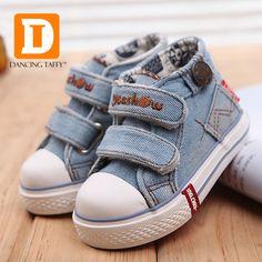 2016 nueva primavera marca bebé zapatos Jeans Denim lona del niño de los muchachos primero Walker Casual calzado de goma(China (Mainland))
