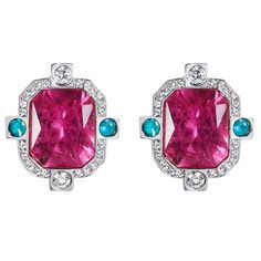 Striking Rubellite Paraiba Tourmaline Diamond Gold Earrings | See more rare vintage Stud Earrings at https://www.1stdibs.com/jewelry/earrings/stud-earrings