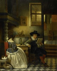 Henri Leys (baron) (Belgian , 1815-1869) - An Interior of the 17th Century, 1838. Rijksmuseum