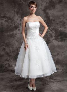 Kleid A   A-Linie/Princess-Linie Herzausschnitt Tee-Länge Taft Organza Brautkleid mit Rüschen Spitze Perlen verziert (002014997) - AmorModa