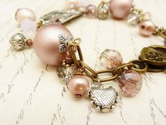 Old Rose and Pale Pink Charm Bracelet with Antique by BBeadazzled