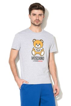 Moschino Men T-shirt Bear Grey Logo Top Animal #Moschino #BasicTee