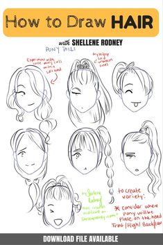 how to draw hair and ponytails with shellene rodney. Click for Downloadable's!