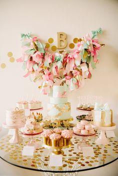Pink, gold and mint dessert table. I'm in love with this for a baby shower or maybe Mother's Day