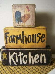 Farmhouse Kitchen sign ROOSTER stacking blocks-shelf sitter, Farmhouse Kitchen sign, rooster painting