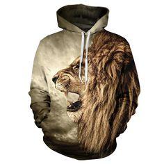 FALL/WINTER CASUAL ANIMAL HOODIES UNISEX MEN WOMAN 3D LION SWEATSHIRT PRINT LION HEAD HIP HOP PULLOVER HOODIES STREETWEAR