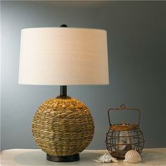 Seagrass Sphere Table Lamp - Shades of Light
