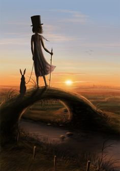 the picture shows a girl and her pet standing on a bridge looking towards the sunset.