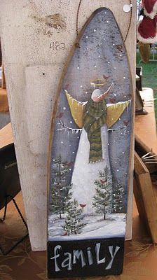 kimmykats: Lookin Back … Pallet Painting, Tole Painting, Painting On Wood, Pallet Art, Snowman Crafts, Cute Crafts, Holiday Crafts, Nifty Crafts, Painted Ironing Board