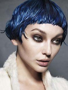 Short funky blue hair