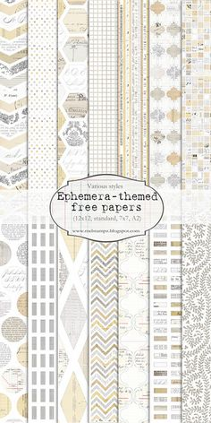 Mel Stampz: 17 different Ephemera themed papers (free) Papel Scrapbook, Digital Scrapbook Paper, Digital Papers, Digital Paper Free, Free Paper, Decoupage, Quilting, Web Design, Life Design