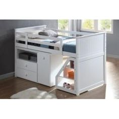 """Wyatt White Finish Twin Loft Bed Staircase and desk pivot or slide - not on wheels. Height from floor to underside of bed platform is 30"""""""