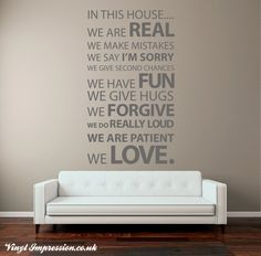Wall Decal Wall Decal Wall Decal Extra Large In this house by Vinyl Impression