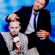 Misha taking care of his oldest son Castiel, Supernatural Actors, Supernatural Fanfiction, Familia Winchester, Sherlock, Alexander Calvert, Spn Memes, Film Serie, Misha Collins