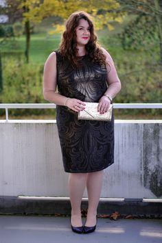 ThePlusSizeBlog.com - Plus Size Outfit - wallis plus size black dress with gold ornaments