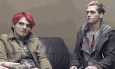 Mikey winking at Gerard ~ My Chemical Romance