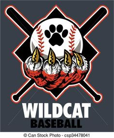 Vector - wildcat baseball - stock illustration, royalty free illustrations, stock clip art icon, stock clipart icons, logo, line art, EPS picture, pictures, graphic, graphics, drawing, drawings, vector image, artwork, EPS vector art