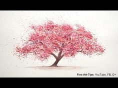 ▶ How to Paint a Cherry Tree in Watercolor - Splatter Painting Trees - Paint a Tree - Sakura - YouTube